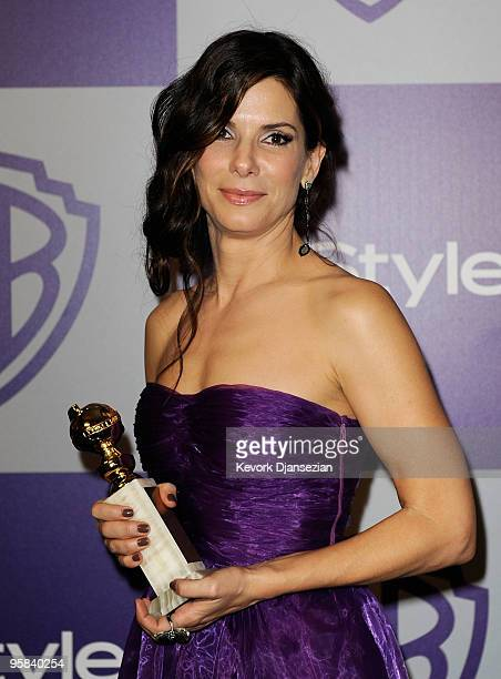 Actress Sandra Bullock arrives at the InStyle and Warner Bros 67th Annual Golden Globes after party held at the Oasis Courtyard at The Beverly Hilton...