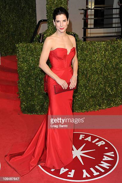 Actress Sandra Bullock arrives at the Vanity Fair Oscar party hosted by Graydon Carter held at Sunset Tower on February 27 2011 in West Hollywood...