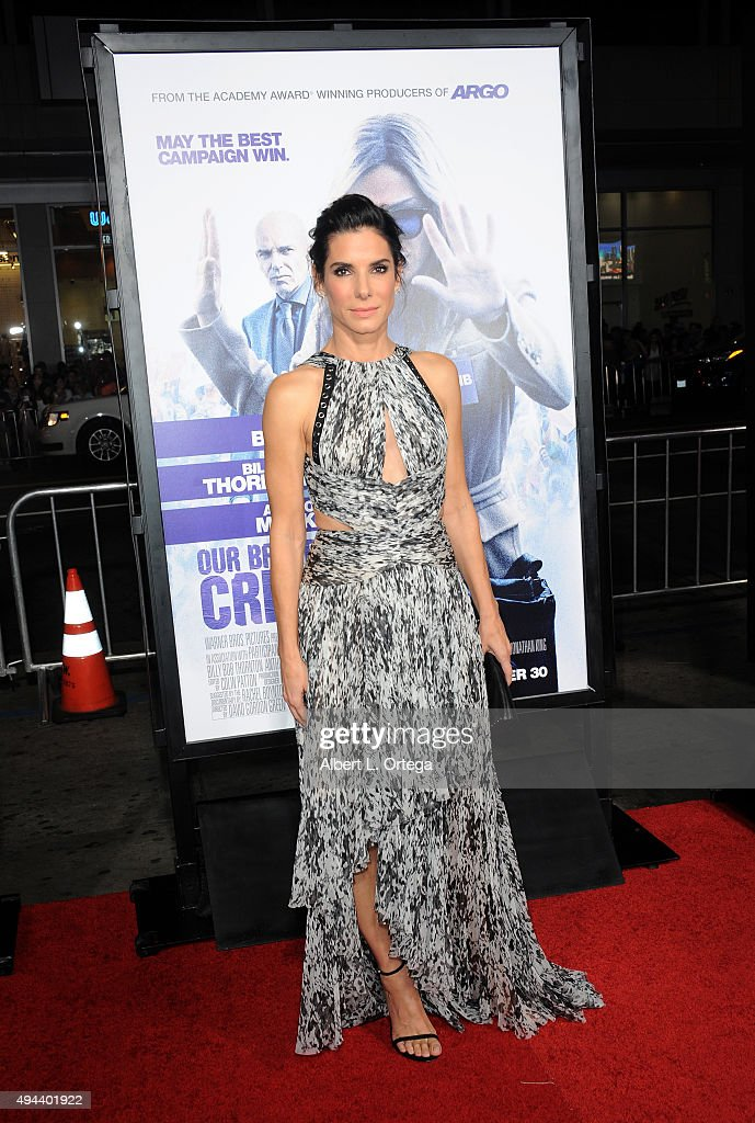 Actress Sandra Bullock arrives for the premiere of Warner Bros. Pictures' 'Our Brand Is Crisis' held at TCL Chinese Theatre on October 26, 2015 in Hollywood, California.