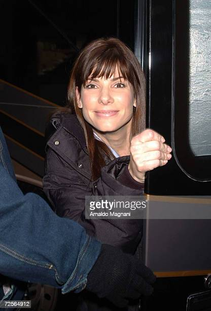 Actress Sandra Bullock arrives on the movie set for the asyetuntitled romantic comedy February 25 2002 in New York City