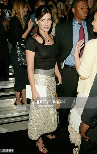 Actress Sandra Bullock at the Marc Jacobs Spring 2003 fashion show during the MercedesBenz Fashion Week at Bryant Park in New York City September 18...
