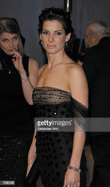 Actress Sandra Bullock attends the Vanity Fair Oscar Party at Mortons March 24 2002 in West Hollywood CA