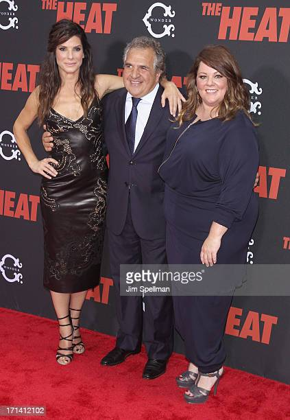 Actress Sandra Bullock chairman chief executive officer of Fox Filmed Entertainment Jim Gianopilos and actress Melissa McCarthy attend 'The Heat' New...
