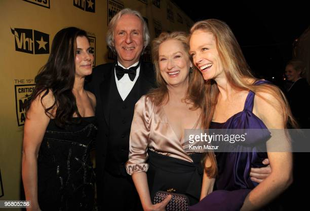 Actress Sandra Bullock, director James Cameron, actresses Meryl Streep and Suzy Amis during the 15th annual Critics' Choice Movie Awards held at the...
