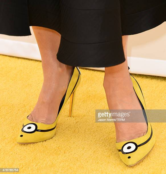 Actress Sandra Bullock fashion detail arrives at the Los Angeles premiere of 'Minions' held at the Shrine Auditorium on Saturday June 27 2015