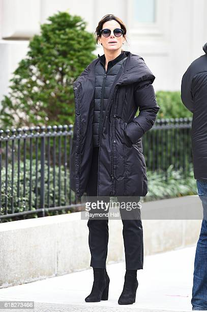 Actress Sandra Bullock is seen on October 25 2016 on the set of 'Ocean's 8' on October 25 2016 in New York City