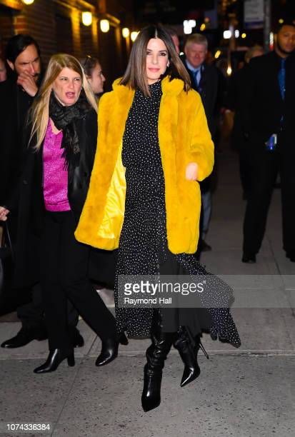Actress Sandra Bullock is seen outside The Late Show With Stephen Colbert on December 17 2018 in New York City