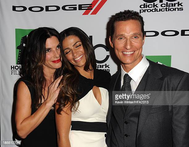 Actress Sandra Bullock, model Camila Alves McConaughey and actor Matthew McConaughey arrive at the 17th annual Hollywood Film Awards at The Beverly...
