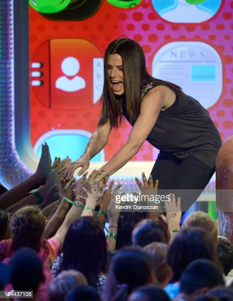 Actress Sandra Bullock onstage during Nickelodeon's 26th Annual Kids' Choice Awards at USC Galen Center on March 23 2013 in Los Angeles California