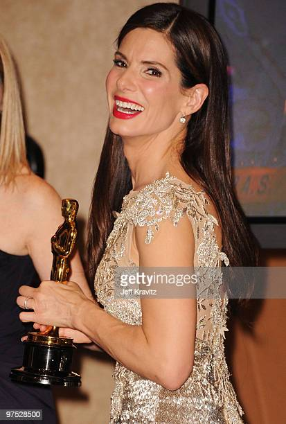 Actress Sandra Bullock poses in the press room at the 82nd Annual Academy Awards held at Kodak Theatre on March 7 2010 in Hollywood California
