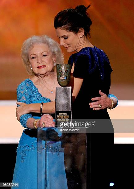 Actress Sandra Bullock presents actress Betty White the Life Achievement Award onstage at the 16th Annual Screen Actors Guild Awards held at the...