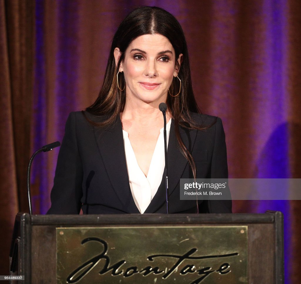 Actress Sandra Bullock speaks during the Beverly Hills Bar Association's 2018 Entertainment Lawyer of the Year Dinner at the Montage Beverly Hills on May 3, 2018 in Beverly Hills, California.