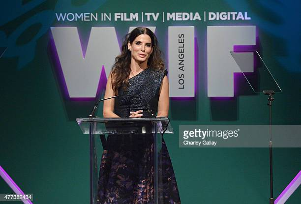 Actress Sandra Bullock speaks onstage during the Women In Film 2015 Crystal Lucy Awards Presented by Max Mara BMW of North America and Tiffany Co at...