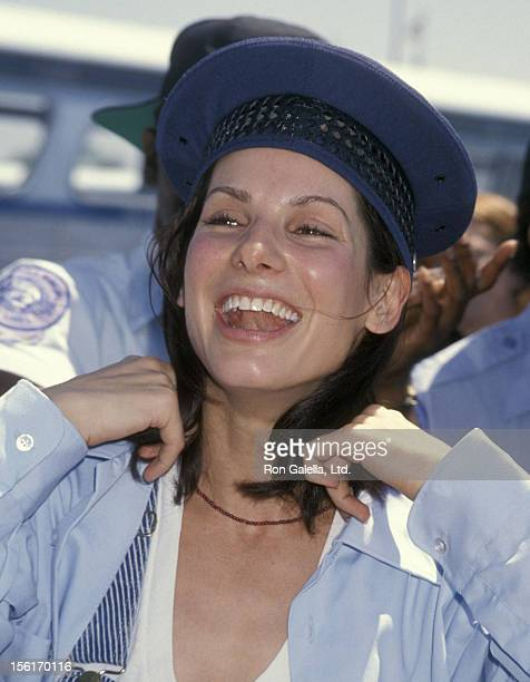 Actress Sandra Bullock takes a bus driver's test to promote her new movie 'Speed' on June 1 1994 at the Santa Monica Bus Lines in Santa Monica...