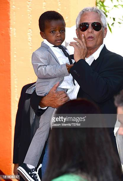 Actress Sandra Bullock's son Louis Bardo Bullock is seen as Bullock is immortalized with a hand and footprint ceremony at TCL Chinese Theatre on...