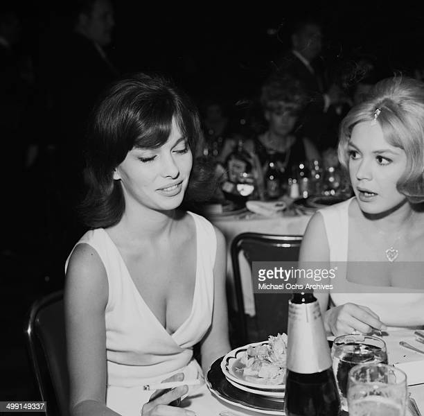 Actress Sandra Dee with Betty Beal during a party in Los Angeles California