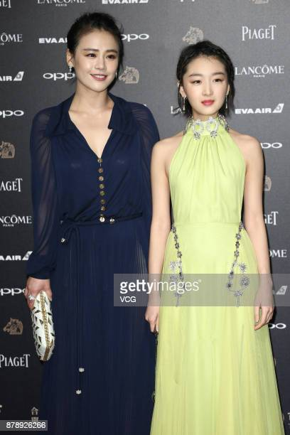 Actress Sandra Ma and actress Zhou Dongyu arrive at the red carpet of the 54th Golden Horse Awards Ceremony on November 25 2017 in Taipei Taiwan of...