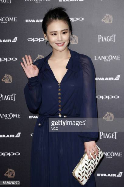 Actress Sandra Ma arrives at the red carpet of the 54th Golden Horse Awards Ceremony on November 25 2017 in Taipei Taiwan of China