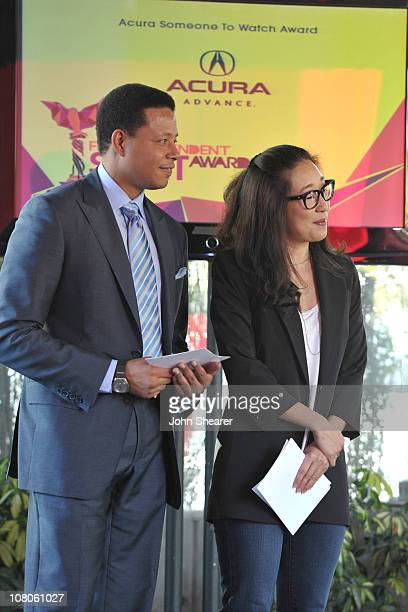 Actress Sandra Oh and actor Terrence Howard attend the 2011 Film Independent Spirit Awards Filmmakers Grant and Nominee Brunch sponsored by Piaget at...