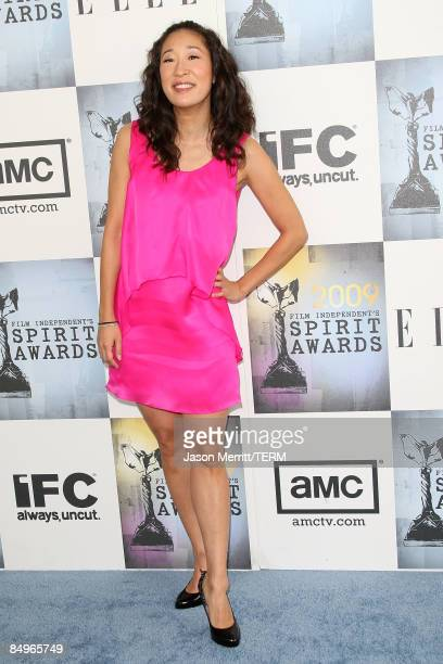 Actress Sandra Oh arrives at the 24th Annual Film Independent's Spirit Awards held at Santa Monica Beach on February 21 2009 in Santa Monica...