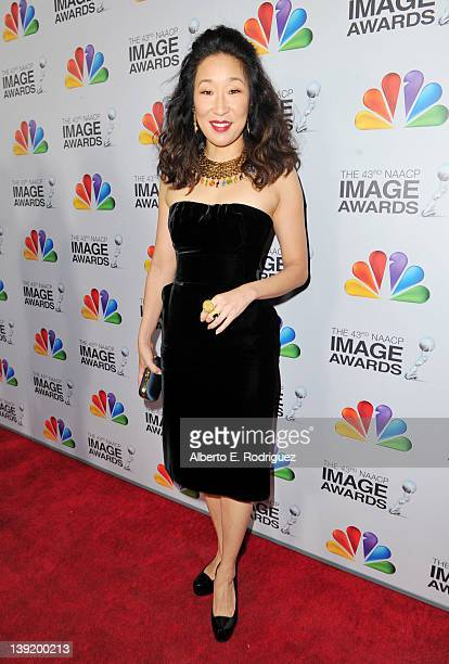 Actress Sandra Oh arrives at the 43rd NAACP Image Awards held at The Shrine Auditorium on February 17 2012 in Los Angeles California