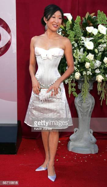 Actress Sandra Oh arrives at the 57th Annual Emmy Awards held at the Shrine Auditorium on September 18 2005 in Los Angeles California