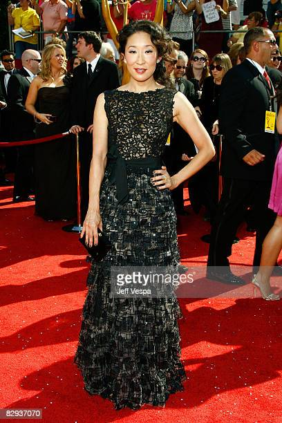 Actress Sandra Oh arrives at the 60th Primetime Emmy Awards at the Nokia Theater on September 21 2008 in Los Angeles California