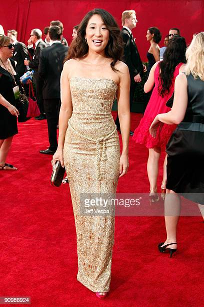Actress Sandra Oh arrives at the 61st Primetime Emmy Awards held at the Nokia Theatre on September 20 2009 in Los Angeles California