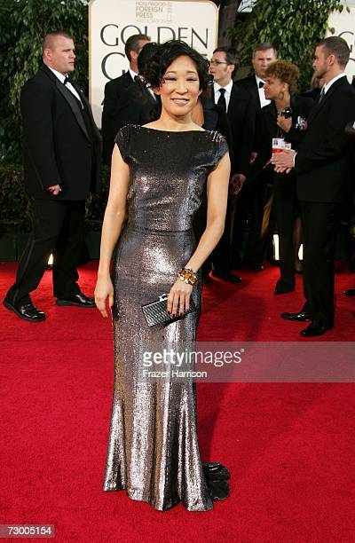 Actress Sandra Oh arrives at the 64th Annual Golden Globe Awards at the Beverly Hilton on January 15, 2007 in Beverly Hills, California.
