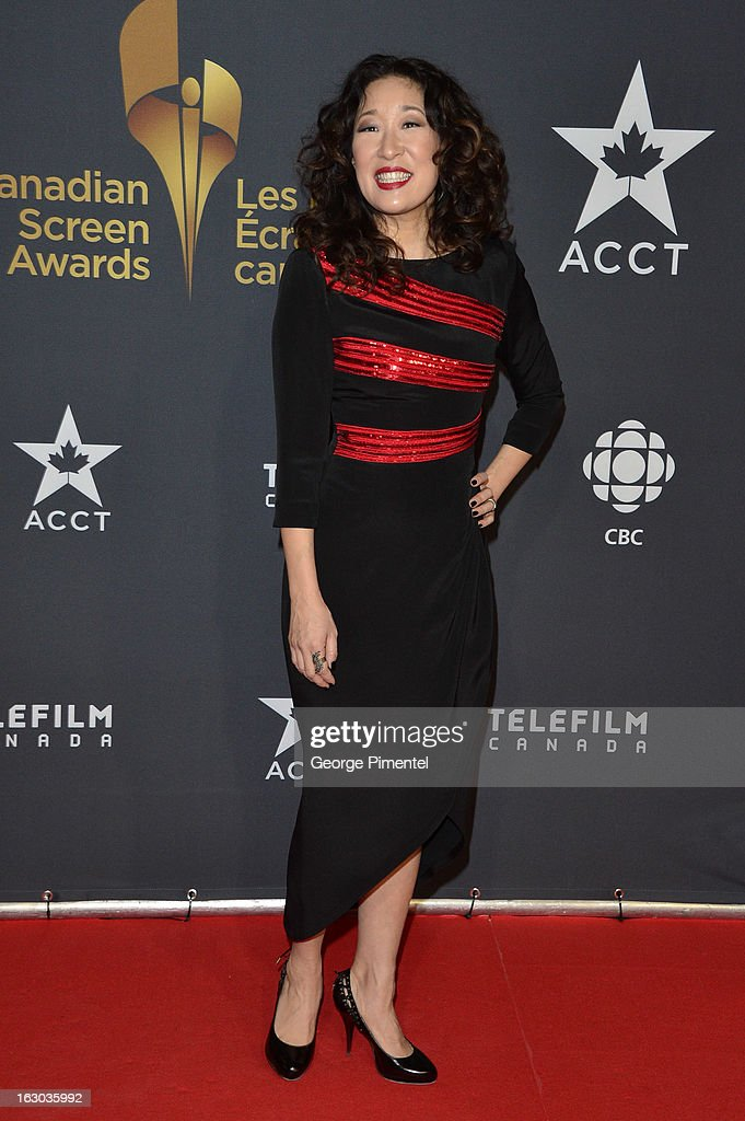 Actress Sandra Oh arrives at the Canadian Screen Awards at the Sony Centre for the Performing Arts on March 3, 2013 in Toronto, Canada.