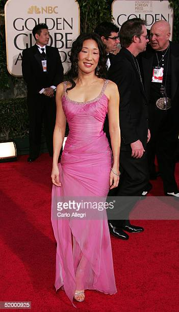 Actress Sandra Oh arrives to the 62nd Annual Golden Globe Awards at the Beverly Hilton Hotel January 16 2005 in Beverly Hills California