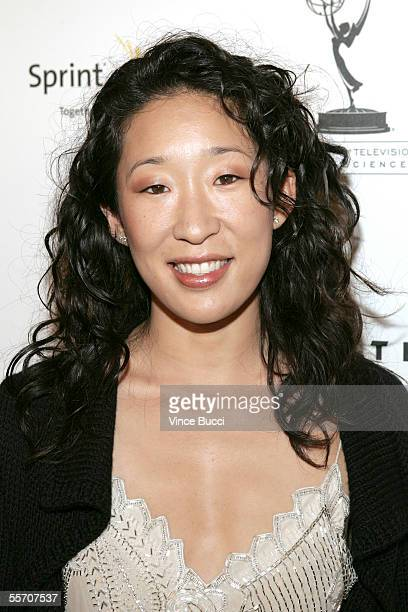Actress Sandra Oh attends the Academy of Television Arts and Sciences' reception for Emmy Award nominees for outstanding performing talent at Spago...