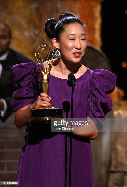 Actress Sandra Oh presents the cast of 'Sesame Street' with the Lifetime Achievemnet Award during the 36th Annual Daytime Emmy Awards at The Orpheum...