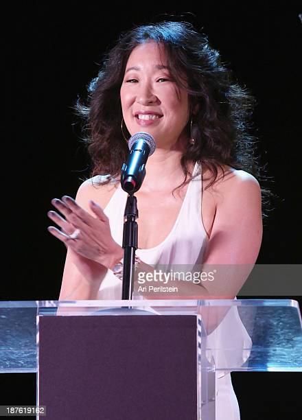 Actress Sandra Oh speaks onstage during the Hamilton and Los Angeles Confidential Magazine's announcement of the 7th Annual Hamilton Behind The...
