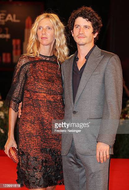 Actress Sandrine Kiberlain and actor Clement Sibony attend the 'L'Oiseau' premiere during the 68th Venice Film Festival at Palazzo del Cinema on...