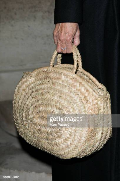 Actress Sandrine Kiberlain handbag detail attends the Jacquemus show as part of the Paris Fashion Week Womenswear Spring/Summer 2018 on September 25...
