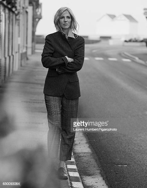 Actress Sandrine Kiberlain is photographed for Madame Figaro on November 7, 2016 in Saint Aubin sur Mer, France. Jacket , shirt , pants , shoes ....