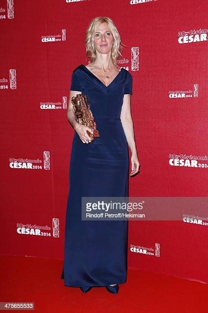 Actress Sandrine Kiberlain winner of the Best Actress award poses in the awards room during the 39th Cesar Film Awards 2014 at Theatre du Chatelet on...