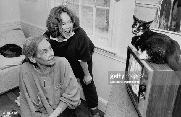 Actress Sandy Dennis at home with her mother Yvonne