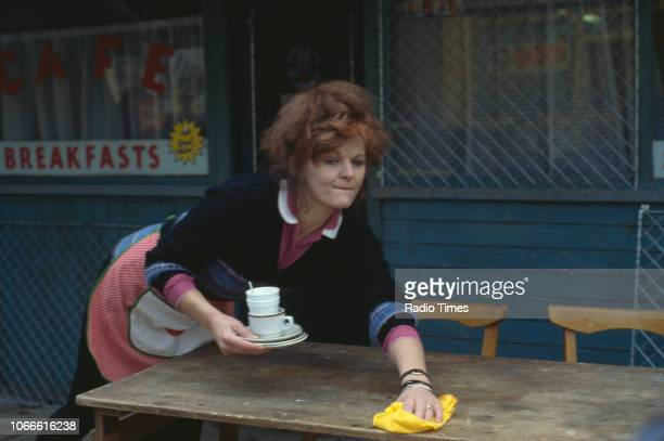 Actress Sandy Ratcliff pictured on the exterior set of the BBC soap opera 'EastEnders' April 5th 1991