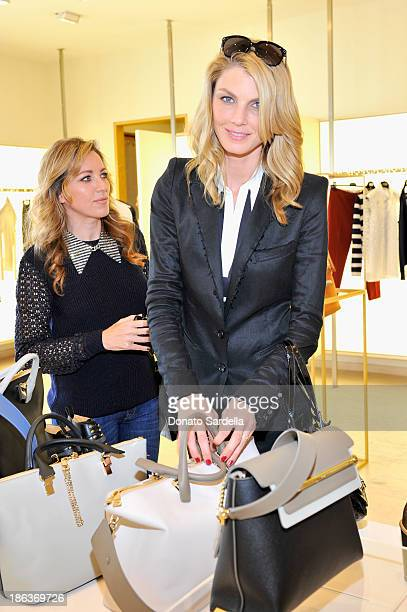 Actress Sanny Van Heteren and model/actress Angela Lindavall attend Clare Waight Keller's launch of the 'Claire' handbag with Angela Lindvall and...