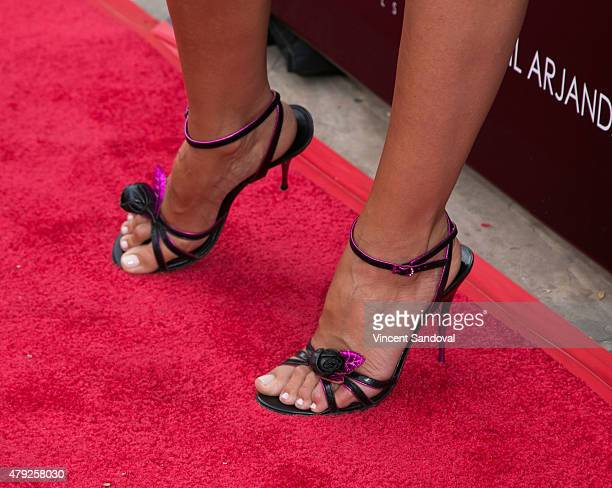 Actress Sanny van Heteren shoe detail attends the grand opening of Anil Arjandas Jewels Los Angeles Boutique on July 1 2015 in West Hollywood...