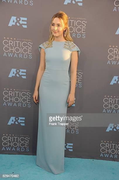 Actress Saoirse Ronan arrives at the 21st Annual Critics' Choice Awards held at Barker Hangar in Santa Monica