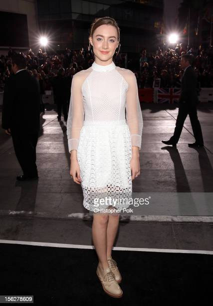 Actress Saoirse Ronan arrives at the premiere of Summit Entertainment's The Twilight Saga Breaking Dawn Part 2 at Nokia Theatre LA Live on November...