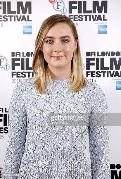 Actress Saoirse Ronan attends a photocall for Brooklyn during the BFI London Film Festival at The Mayfair Hotel on October 12 2015 in London England