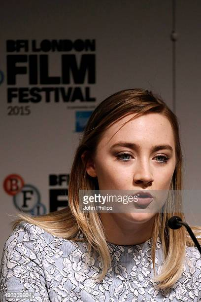 Actress Saoirse Ronan attends a press conference for Brooklyn during the BFI London Film Festival at The Mayfair Hotel on October 12 2015 in London...