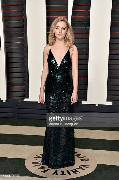 Actress Saoirse Ronan attends the 2016 Vanity Fair Oscar Party hosted By Graydon Carter at Wallis Annenberg Center for the Performing Arts on...