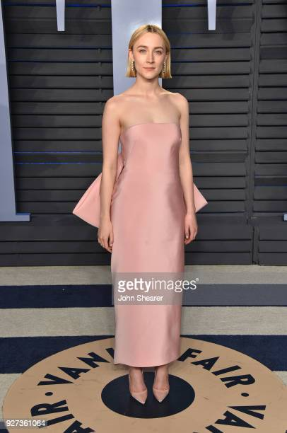 Actress Saoirse Ronan attends the 2018 Vanity Fair Oscar Party hosted by Radhika Jones at Wallis Annenberg Center for the Performing Arts on March 4...