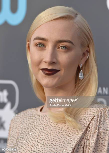 Actress Saoirse Ronan attends the 23rd Annual Critics' Choice Awards at Barker Hangar on January 11 2018 in Santa Monica California