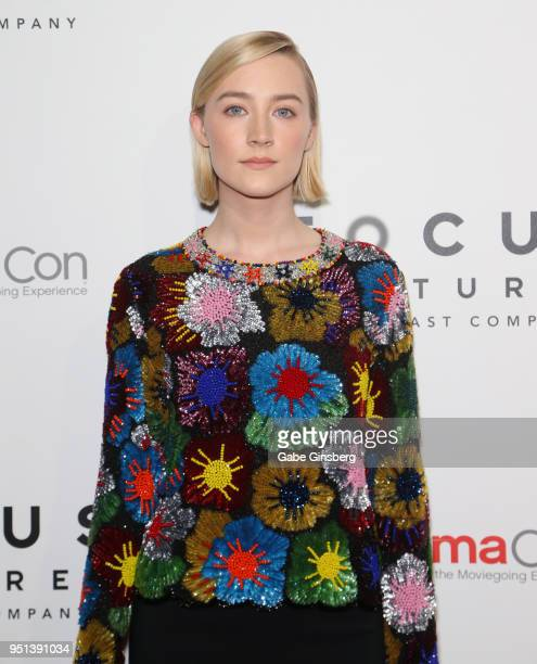 Actress Saoirse Ronan attends the CinemaCon 2018 Focus Features Presentation at Caesars Palace during CinemaCon the official convention of the...